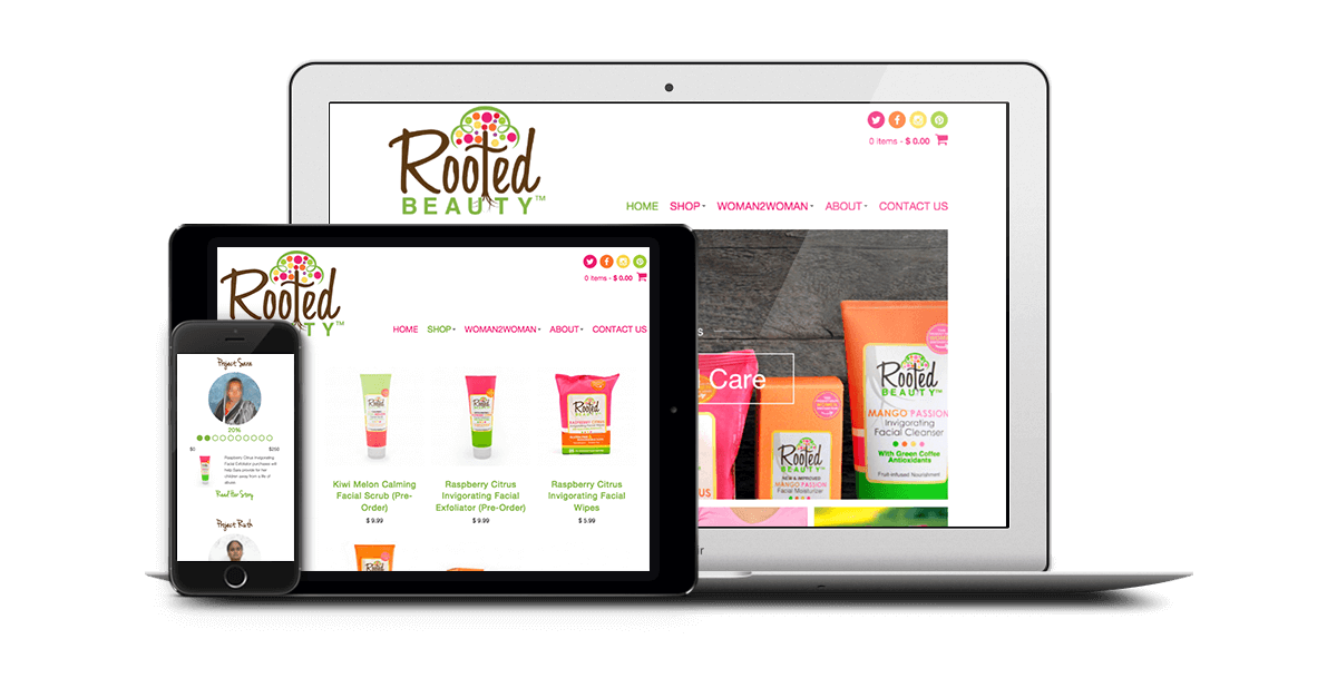 Rooted Beauty's responsive design on different mobile devices