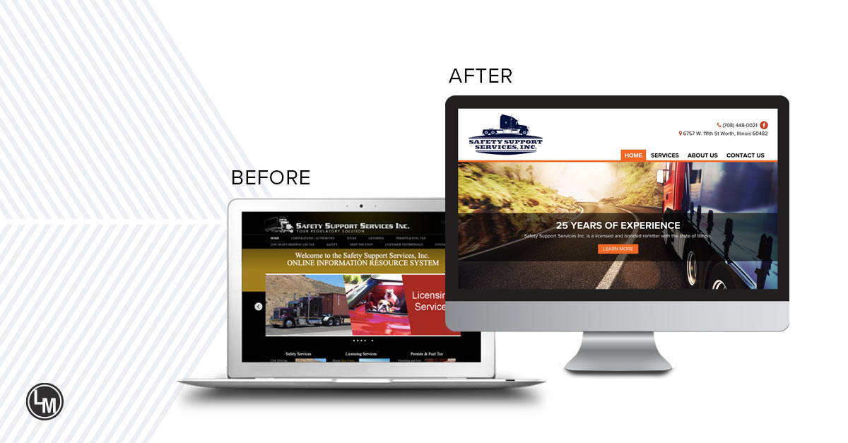 Safety Support Services new website before and after LinkPoint Media