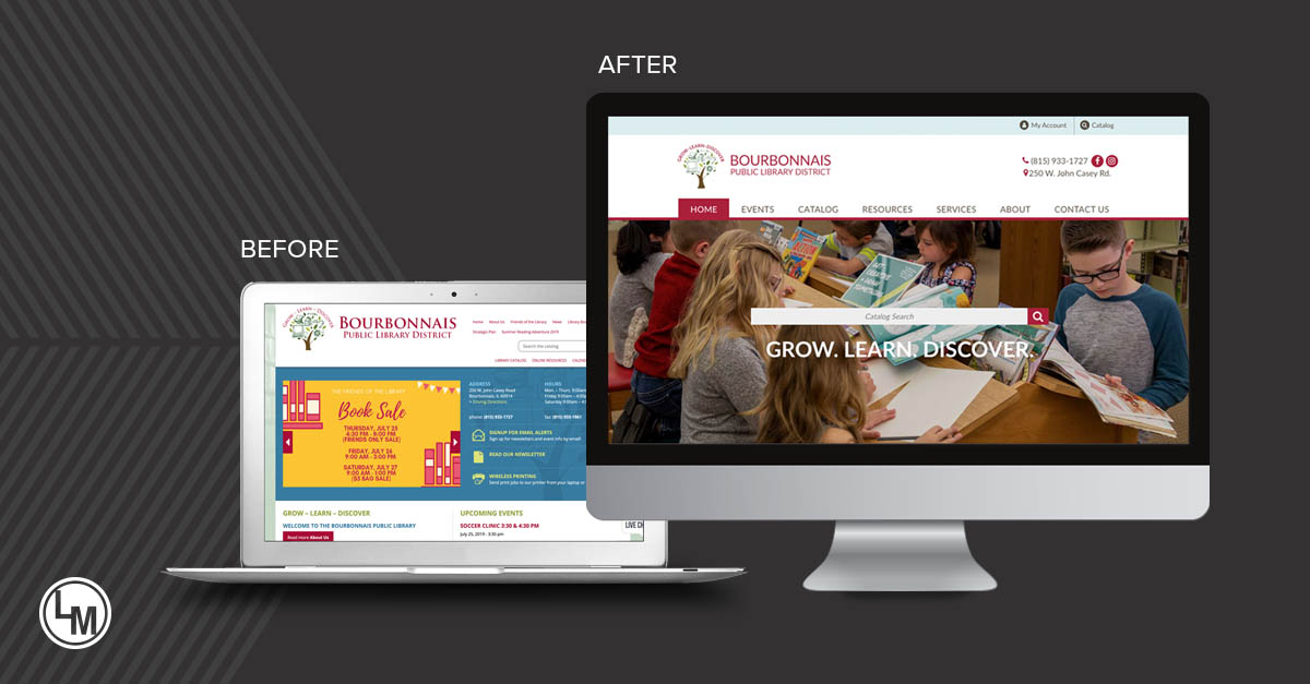 bourbonnais public library new site by linkpoint media before and after