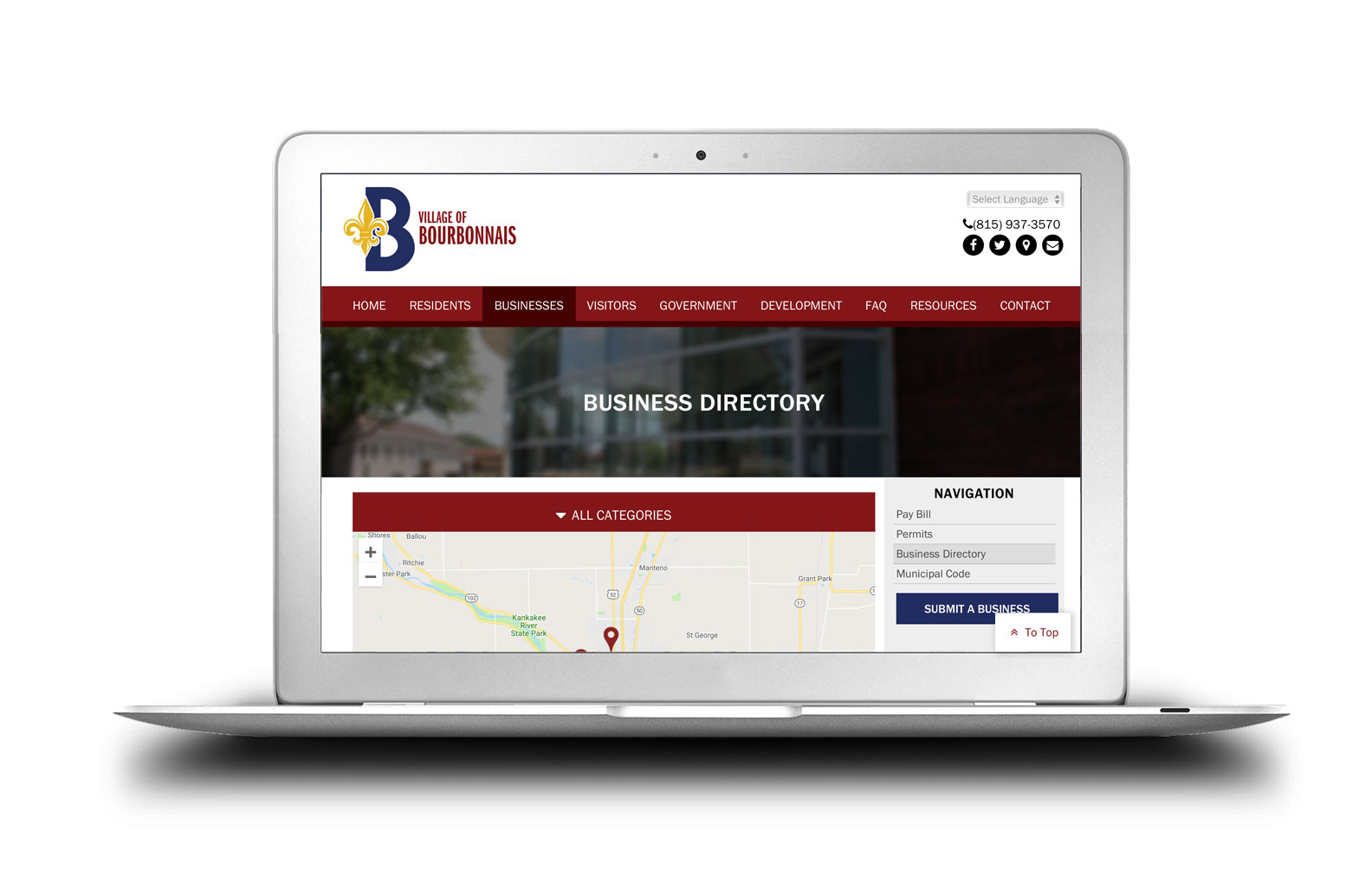 Village of Bourbonnais New Website Business Directory Completed Site Graphics