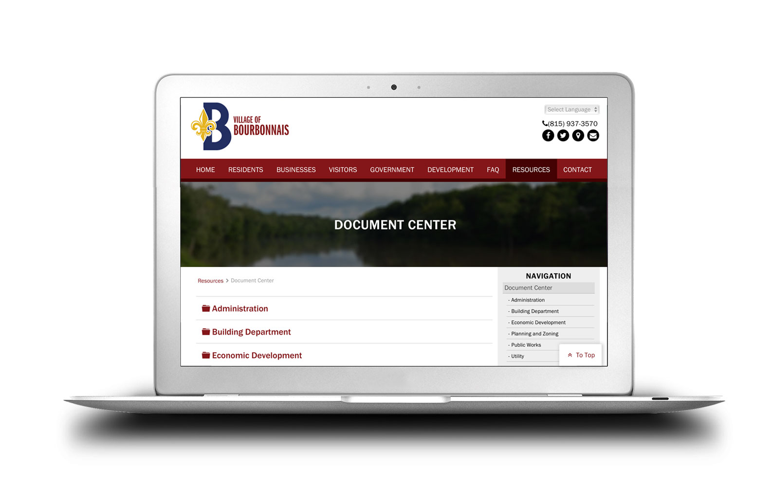 Village of Bourbonnais New Website Document Center Completed Site Graphics