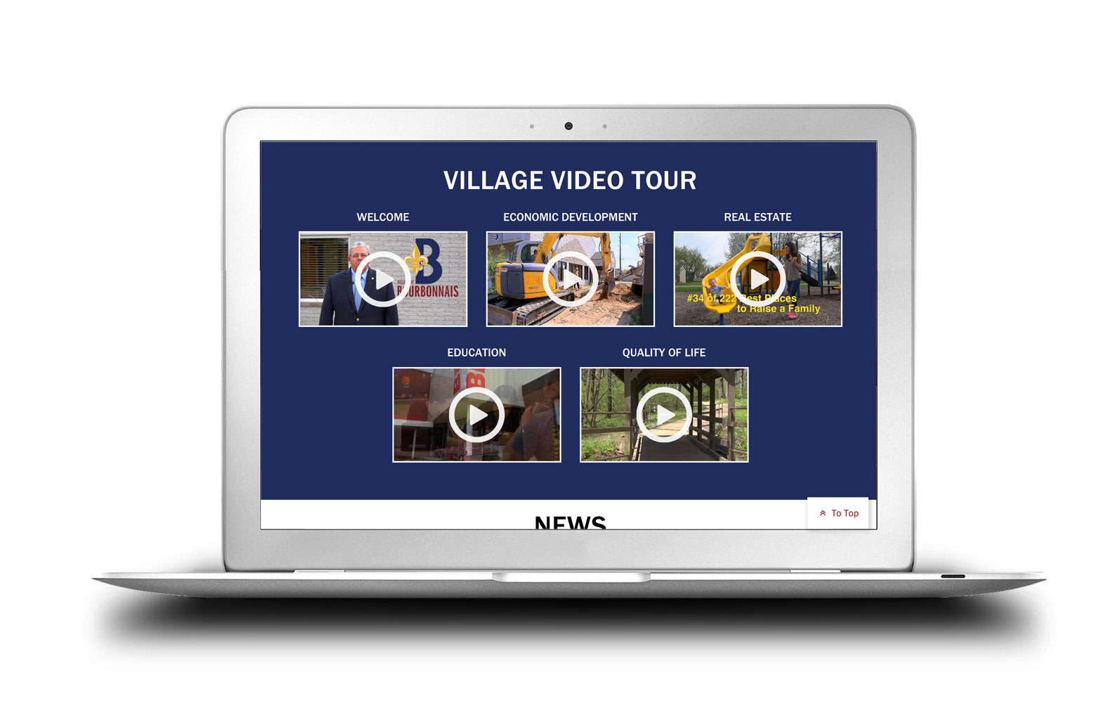 Village of Bourbonnais New Website Video Center Completed Site Graphics