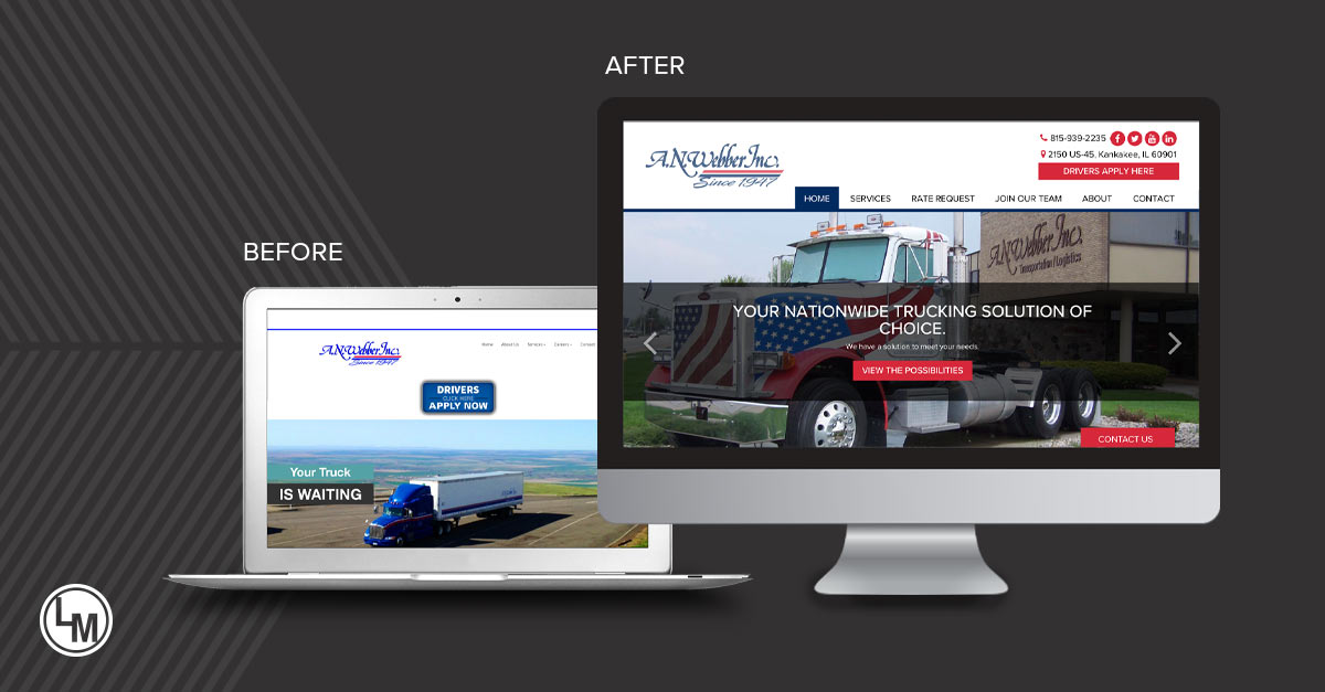A.N. Webber New Website Before and After by LinkPoint Media