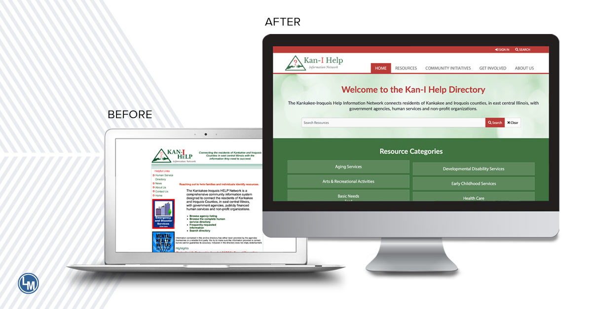 KAN I Help new custom website by linkpoint media before and after